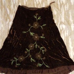 Carole Little Skirts - Carole Little Velvet Embroidered Maxi Skirt
